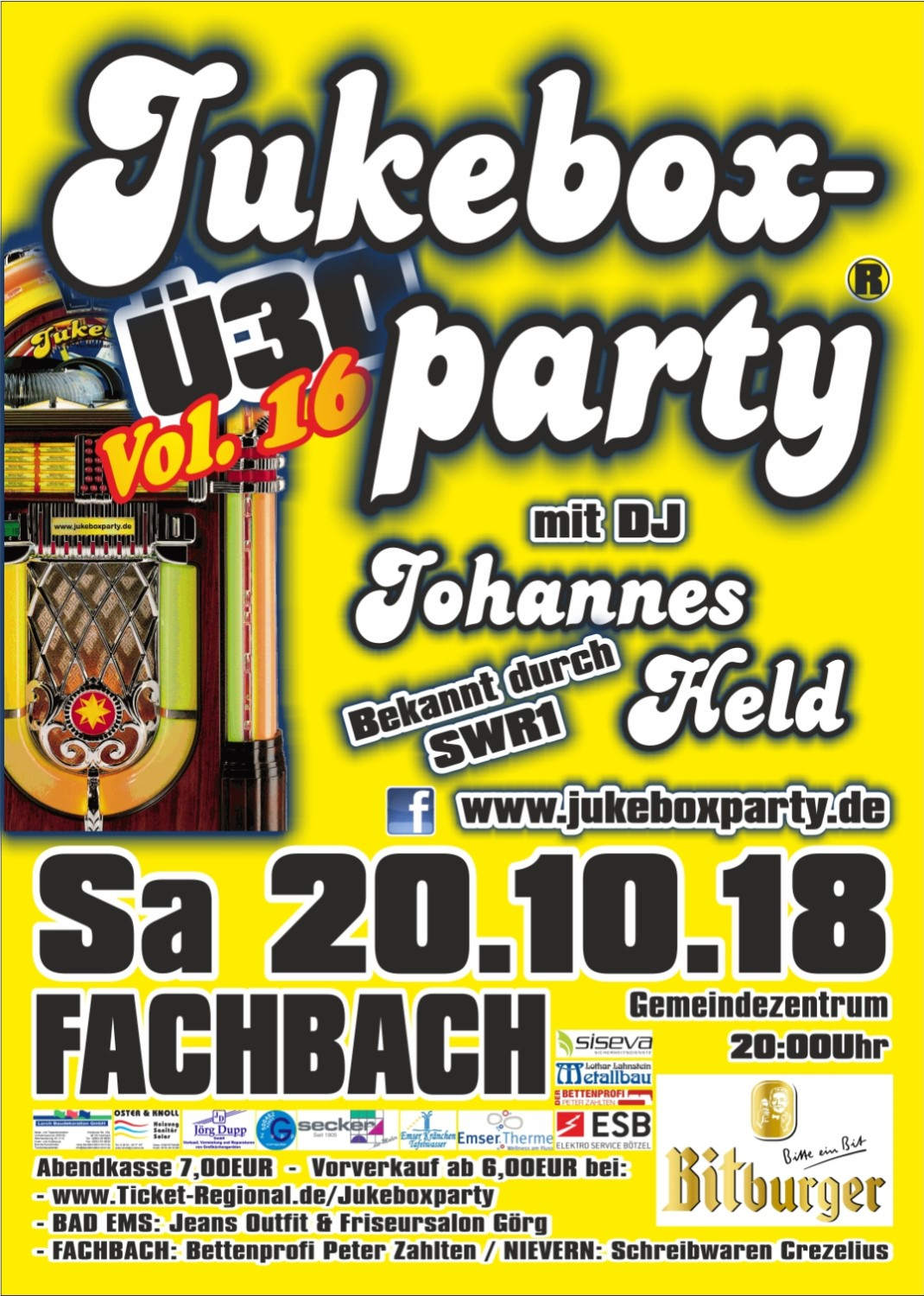 Jukeboxparty Fachbach 2018, Flyer