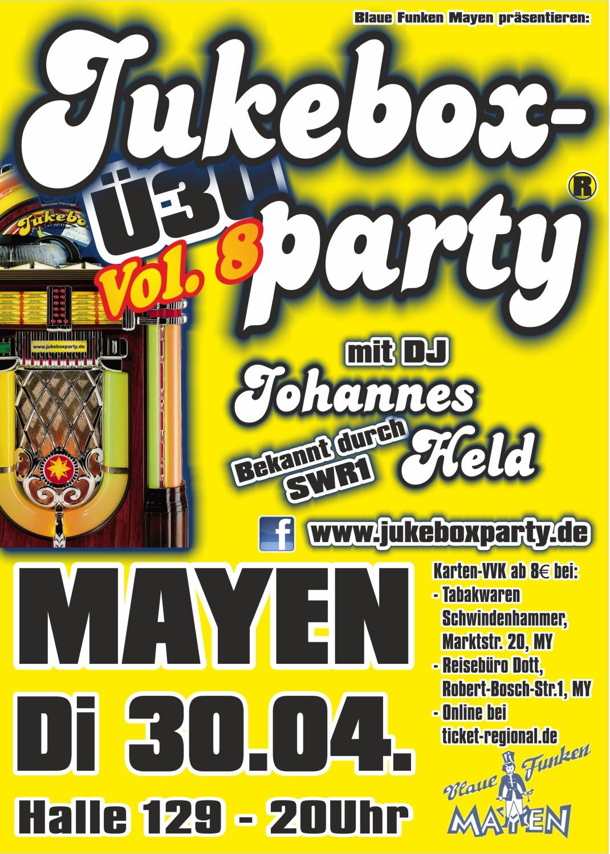 Jukeboxparty am 30.4.2019 in Mayen, Plakat