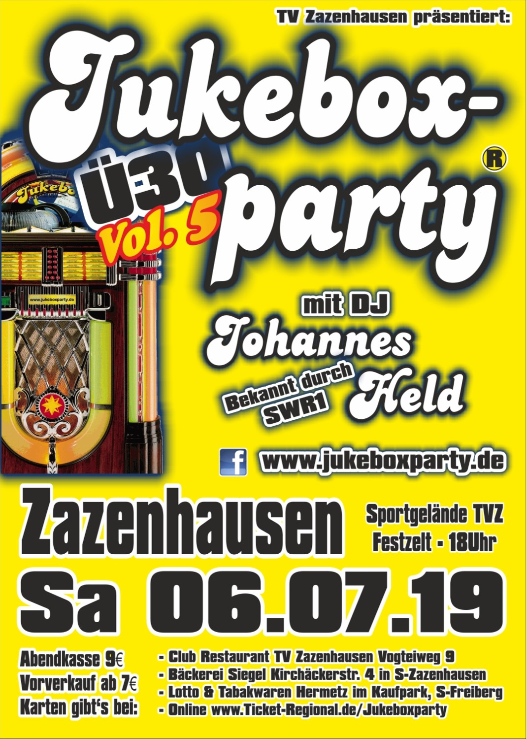 Jukeboxparty Zazenhausen 2019, Flyer