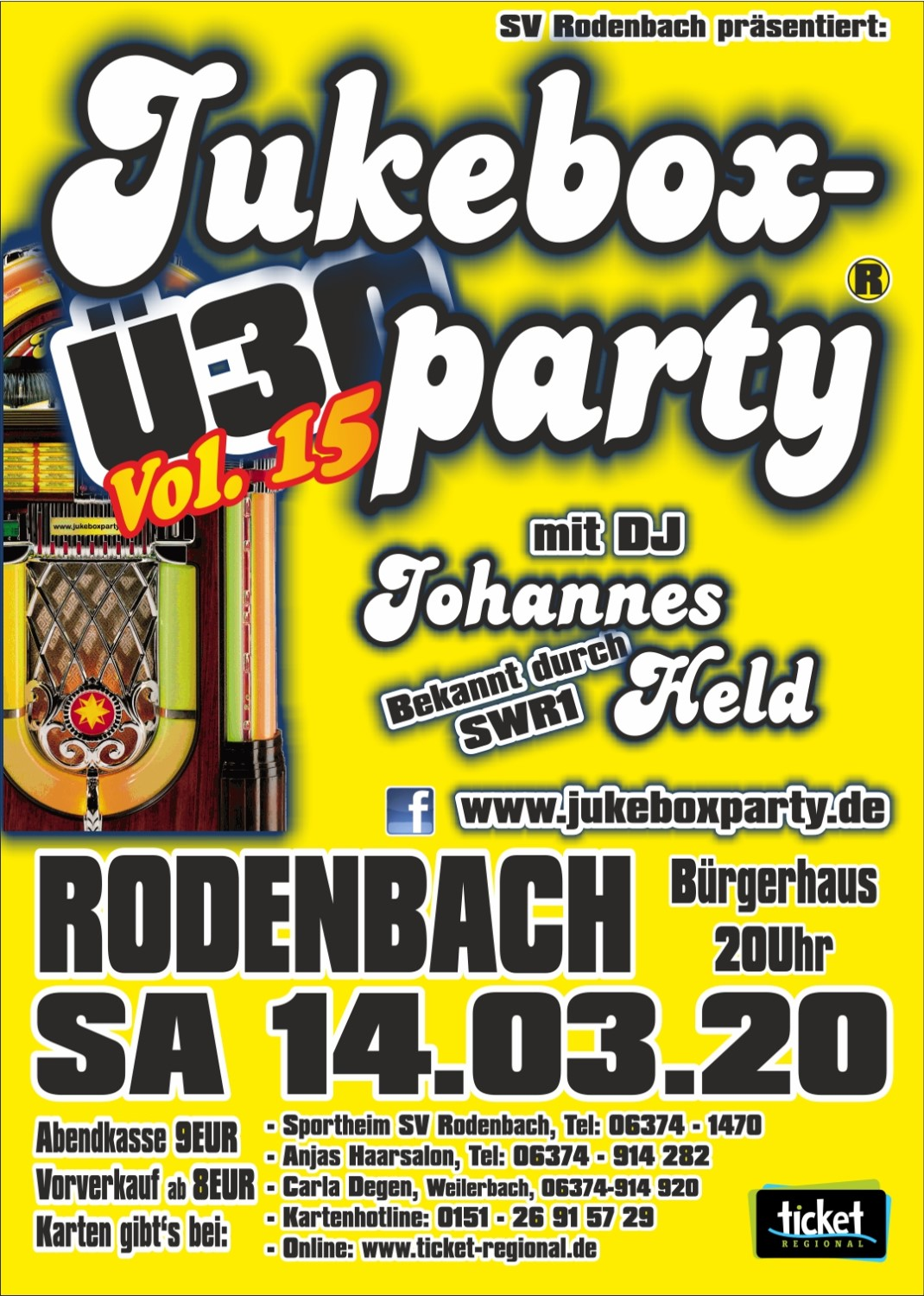 Jukeboxparty Rodenbach 2020 Flyer