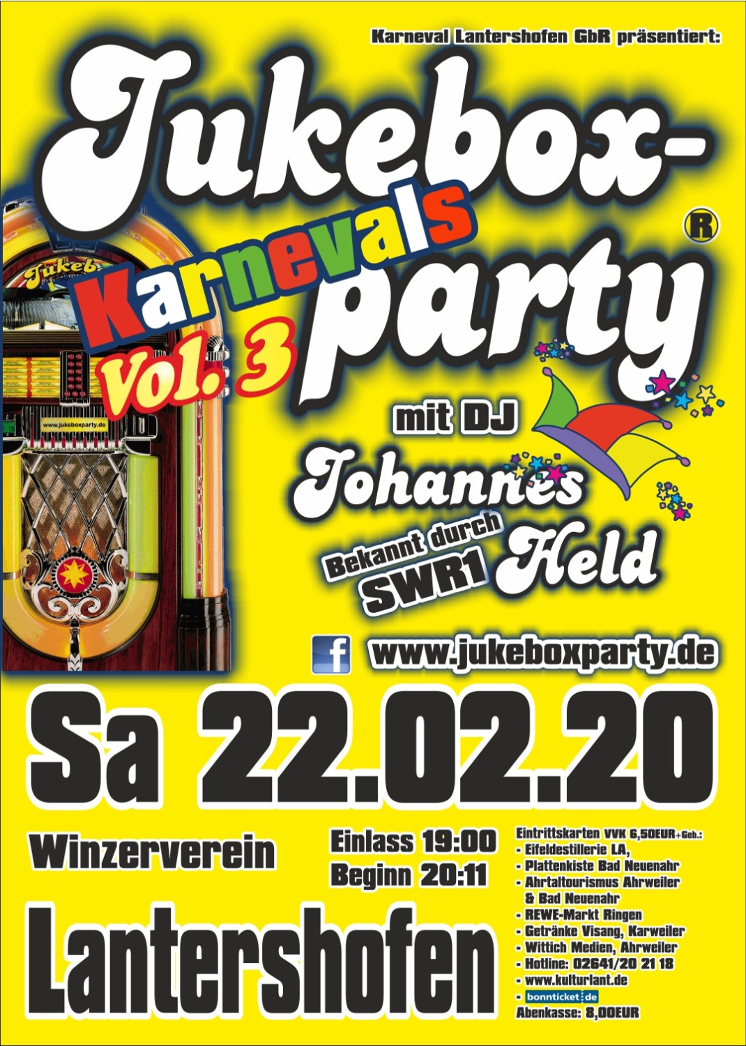 Karnevals-Jukeboxparty Lantershofen 2019 Flyer