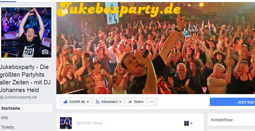 Jukeboxparty on facebook, Startseite